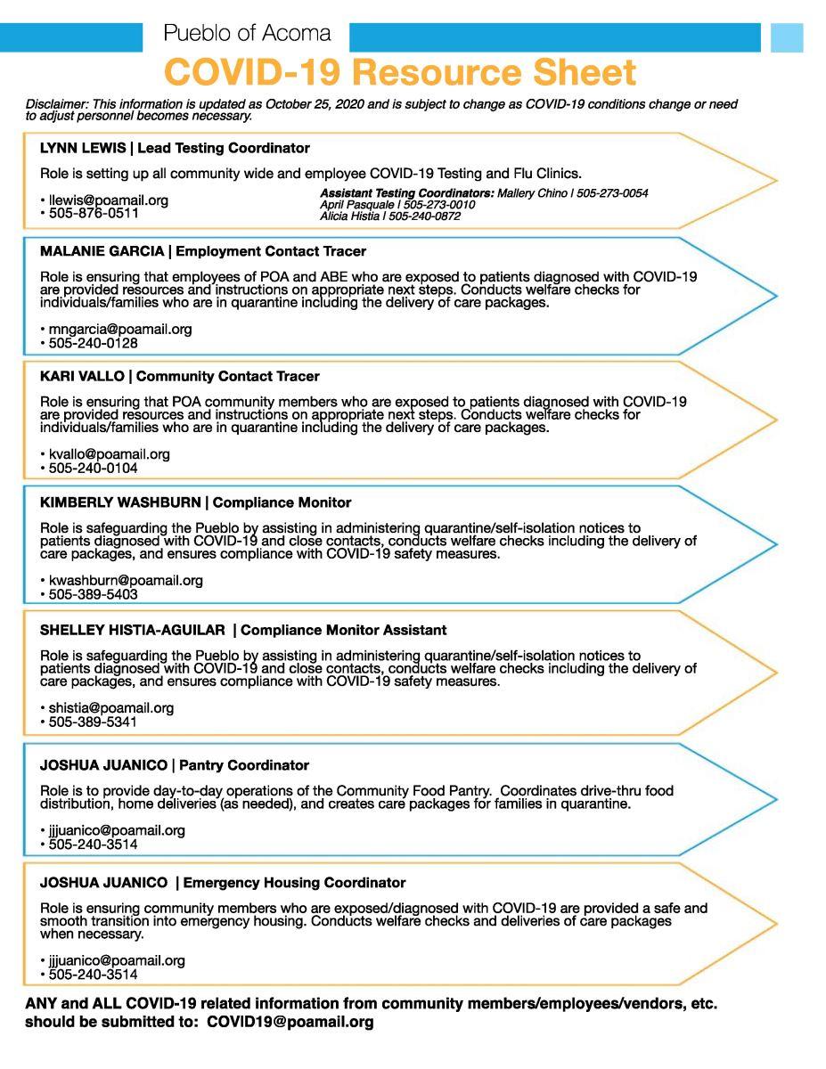 COVID-19 Resource Sheet